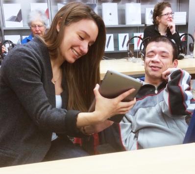 Karol and Doug using the iPad