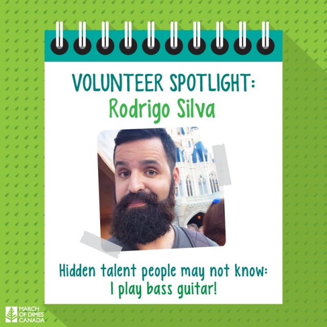 Volunteer Spotlight: Rodrigo Silva. Hidden Talent people may not know: I play bass guitar!